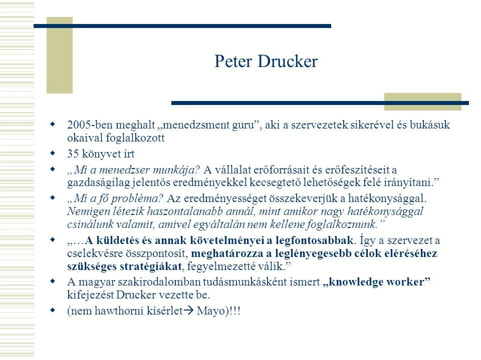 """Peter Drucker 2005-ben meghalt """"menedzsment guru , aki a szervezetek sikerével és bukásuk okaival foglalkozott."""