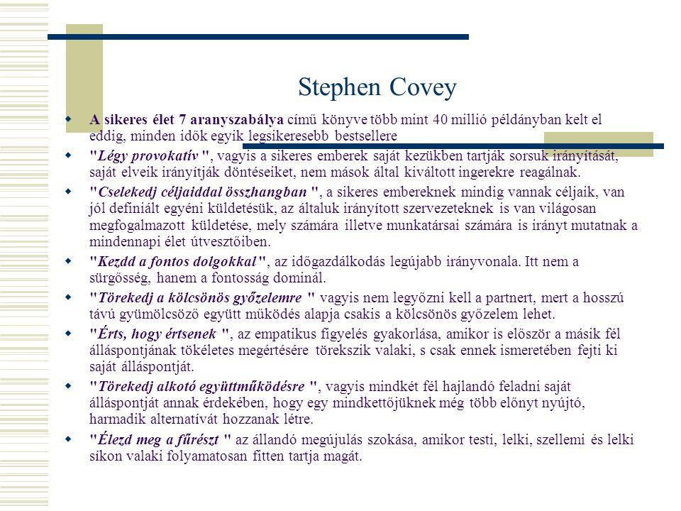 Stephen Covey A sikeres élet 7 aranyszabálya című könyve több mint 40 millió példányban kelt el eddig, minden idők egyik legsikeresebb bestsellere.