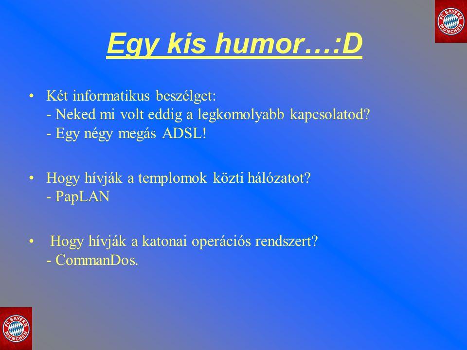 Egy kis humor…:D Két informatikus beszélget: - Neked mi volt eddig a legkomolyabb kapcsolatod - Egy négy megás ADSL!