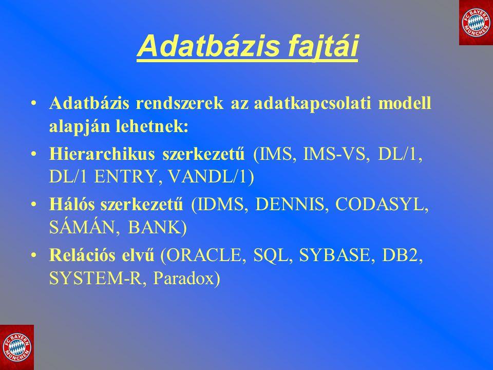 Adatbázis fajtái Adatbázis rendszerek az adatkapcsolati modell alapján lehetnek: Hierarchikus szerkezetű (IMS, IMS-VS, DL/1, DL/1 ENTRY, VANDL/1)