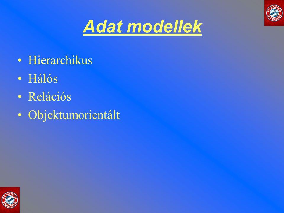 Adat modellek Hierarchikus Hálós Relációs Objektumorientált
