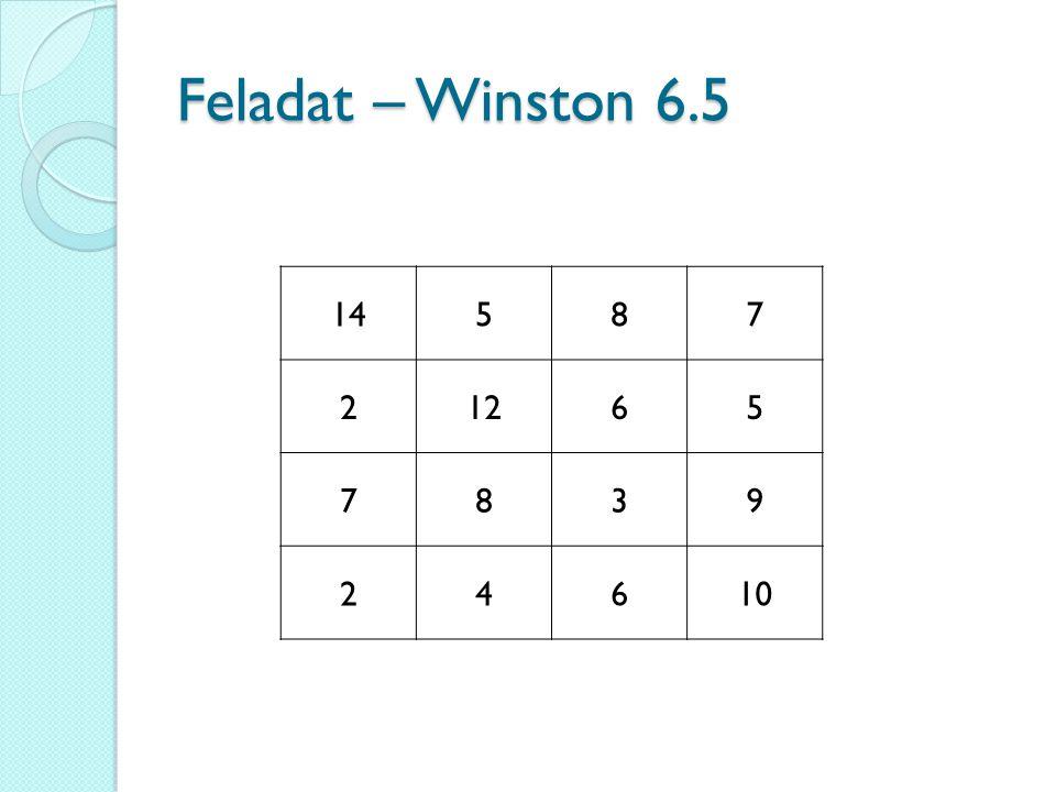 Feladat – Winston 6.5 14 5 8 7 2 12 6 3 9 4 10