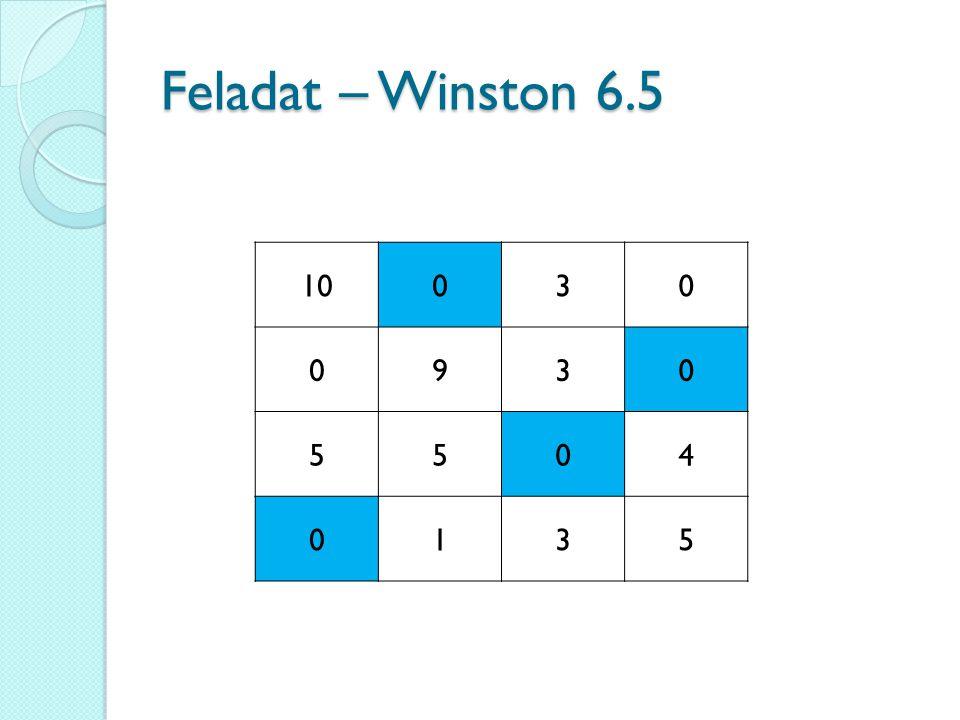 Feladat – Winston 6.5 10 3 9 5 4 1