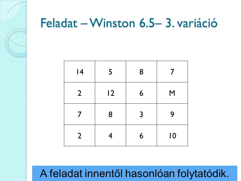 Feladat – Winston 6.5– 3. variáció