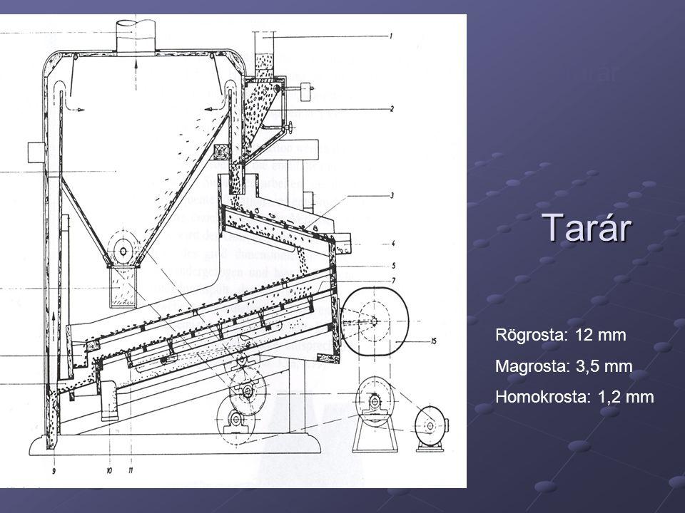 Tarár Tarár Rögrosta: 12 mm Magrosta: 3,5 mm Homokrosta: 1,2 mm