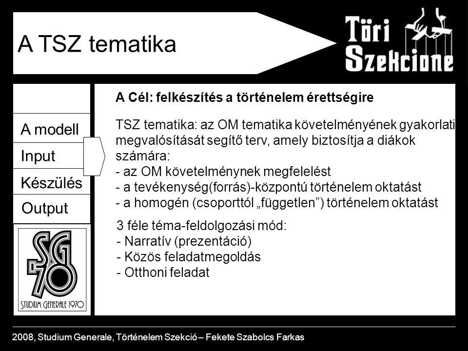 A TSZ tematika A modell Input Készülés Output