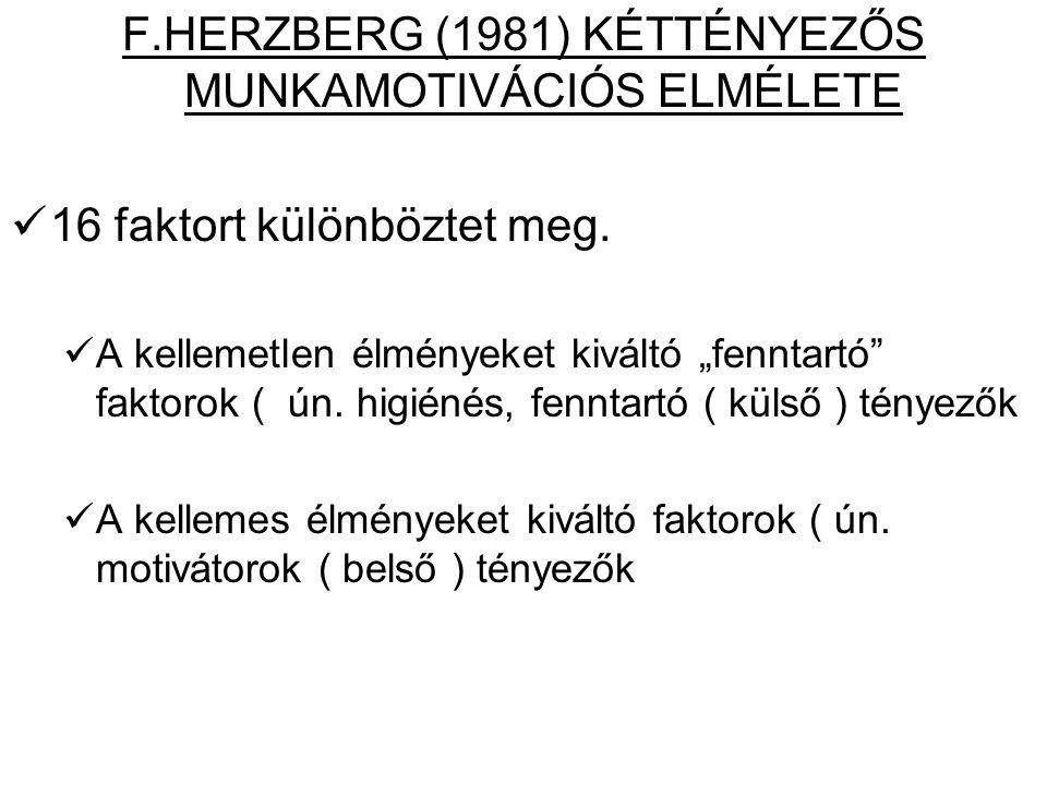 F.HERZBERG (1981) KÉTTÉNYEZŐS MUNKAMOTIVÁCIÓS ELMÉLETE