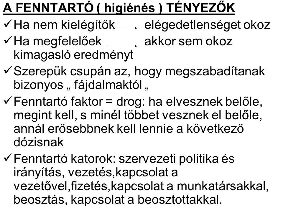 A FENNTARTÓ ( higiénés ) TÉNYEZŐK