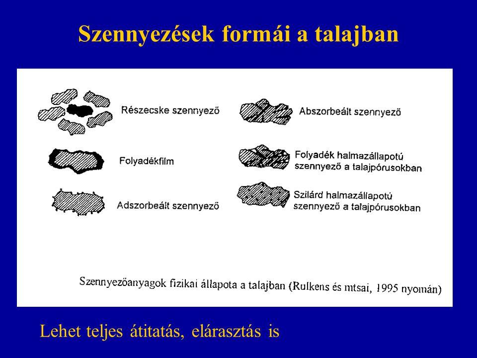 Szennyezések formái a talajban