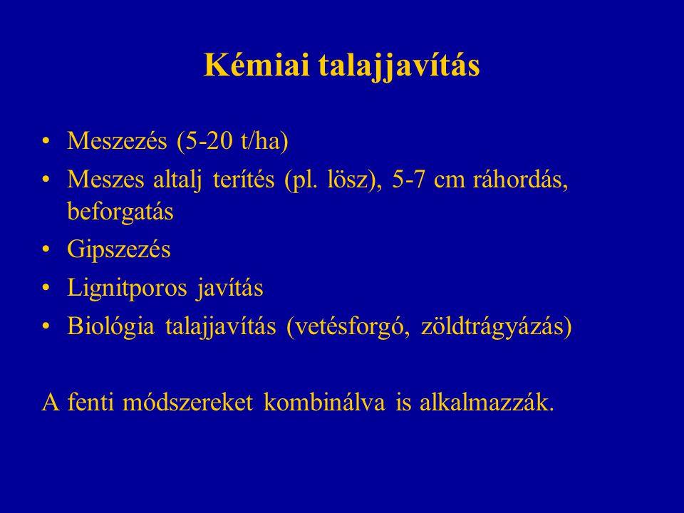 Kémiai talajjavítás Meszezés (5-20 t/ha)