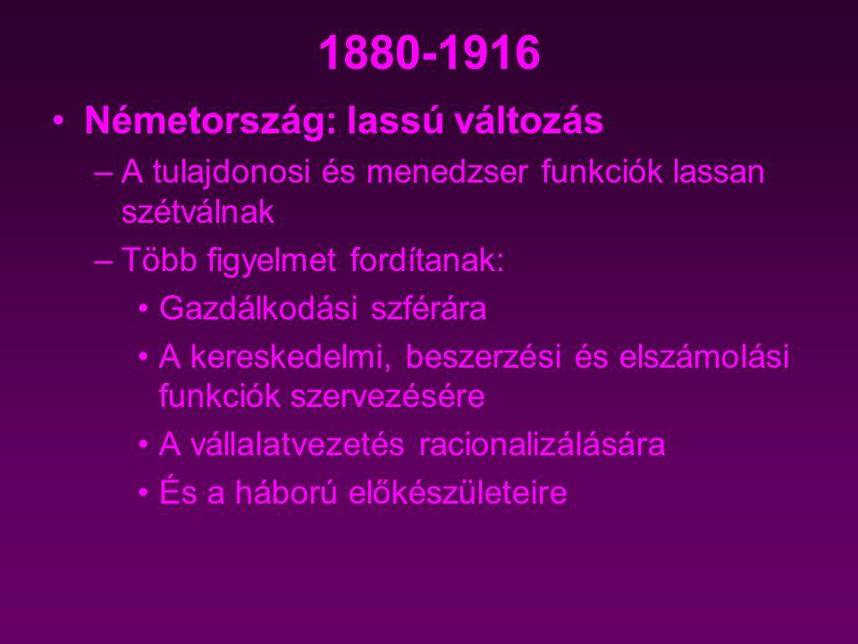 1880-1916 Németország: lassú változás