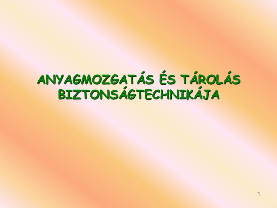 ANYAGMOZGATÁS ÉS TÁROLÁS BIZTONSÁGTECHNIKÁJA