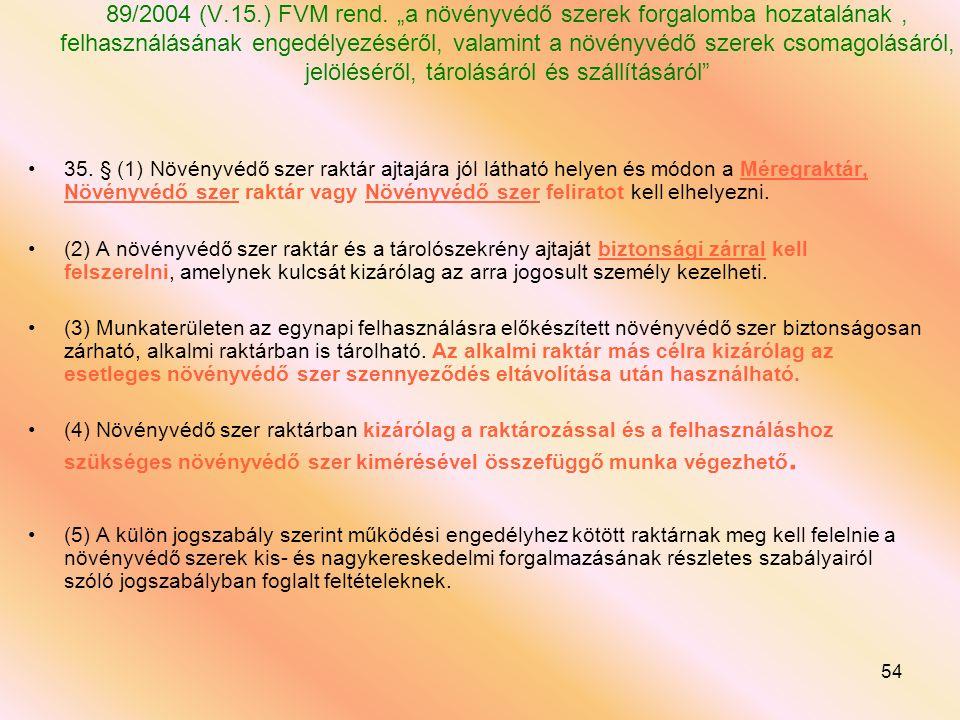"""89/2004 (V.15.) FVM rend. """"a növényvédő szerek forgalomba hozatalának , felhasználásának engedélyezéséről, valamint a növényvédő szerek csomagolásáról, jelöléséről, tárolásáról és szállításáról"""