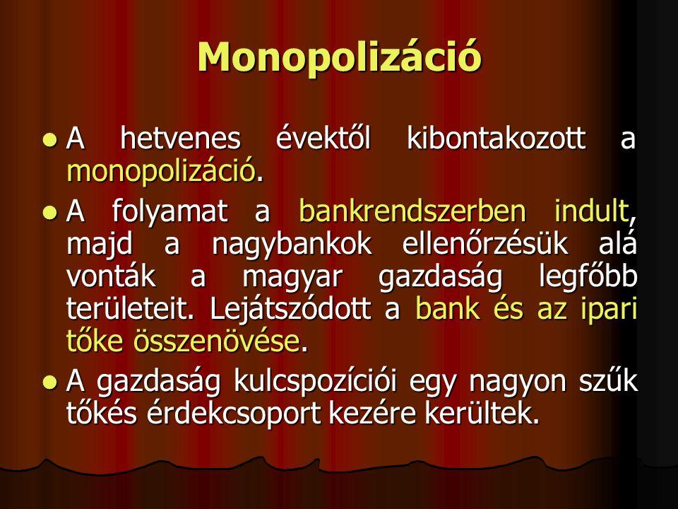 Monopolizáció A hetvenes évektől kibontakozott a monopolizáció.