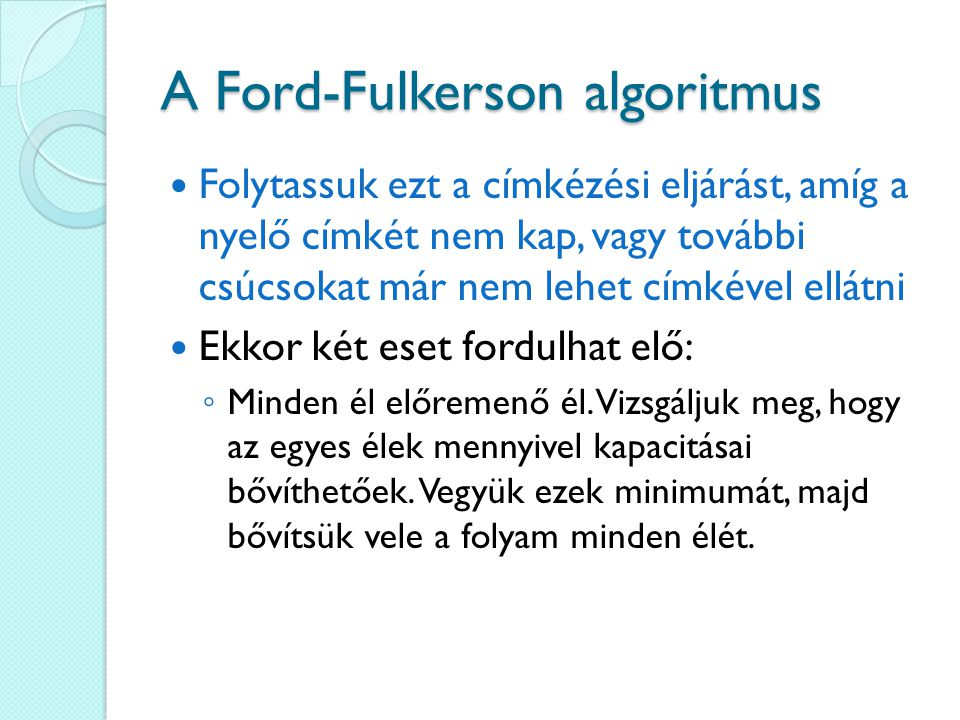 A Ford-Fulkerson algoritmus