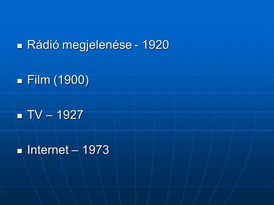 Rádió megjelenése - 1920 Film (1900) TV – 1927 Internet – 1973