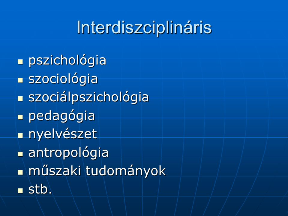 Interdiszciplináris pszichológia szociológia szociálpszichológia