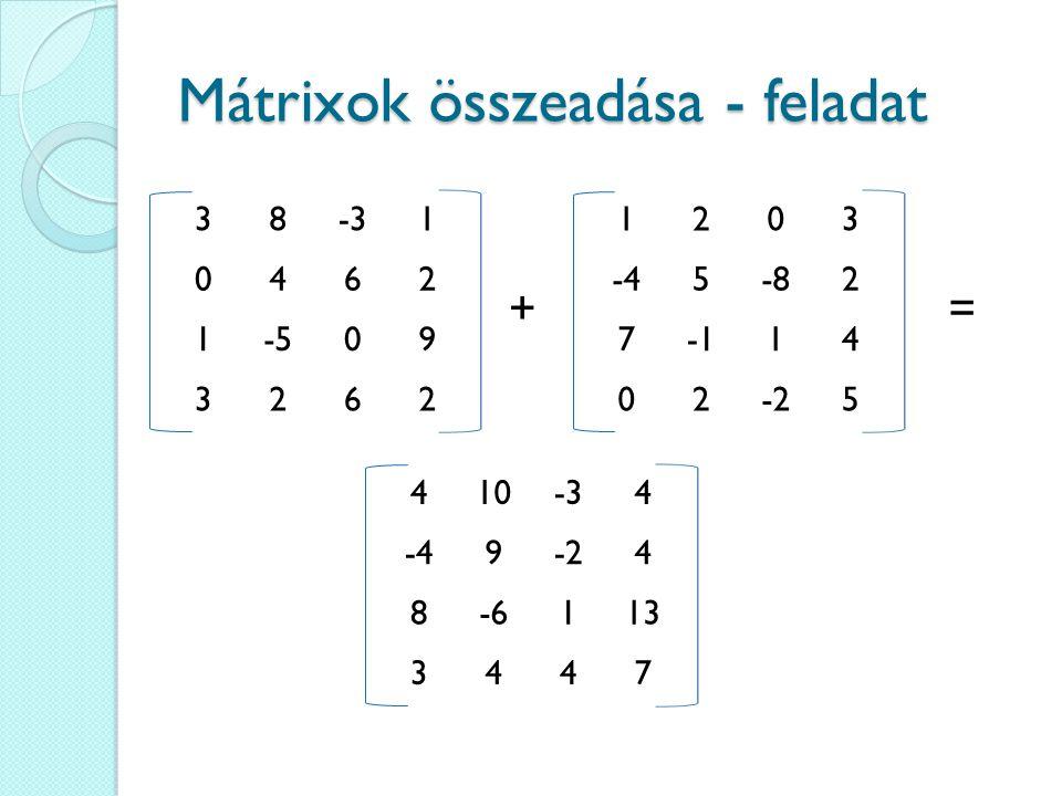 Mátrixok összeadása - feladat