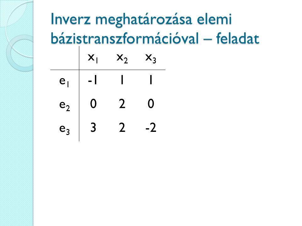 Inverz meghatározása elemi bázistranszformációval – feladat