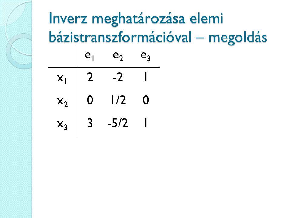 Inverz meghatározása elemi bázistranszformációval – megoldás