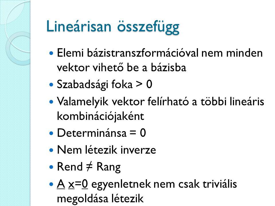 Lineárisan összefügg Elemi bázistranszformációval nem minden vektor vihető be a bázisba. Szabadsági foka > 0.
