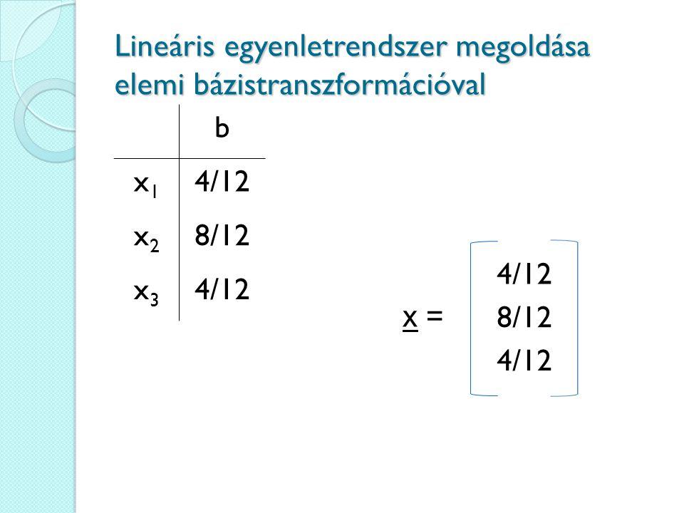 Lineáris egyenletrendszer megoldása elemi bázistranszformációval