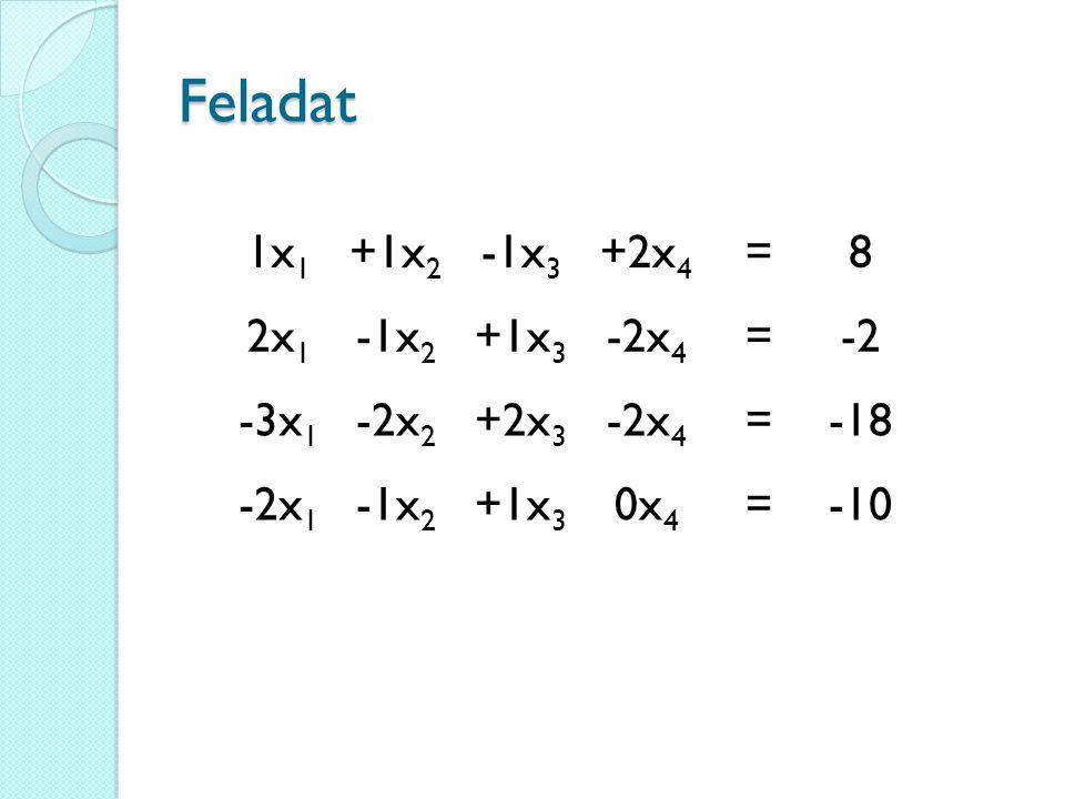 Feladat 1x1 +1x2 -1x3 +2x4 = 8 2x1 -1x2 +1x3 -2x4 -2 -3x1 -2x2 +2x3