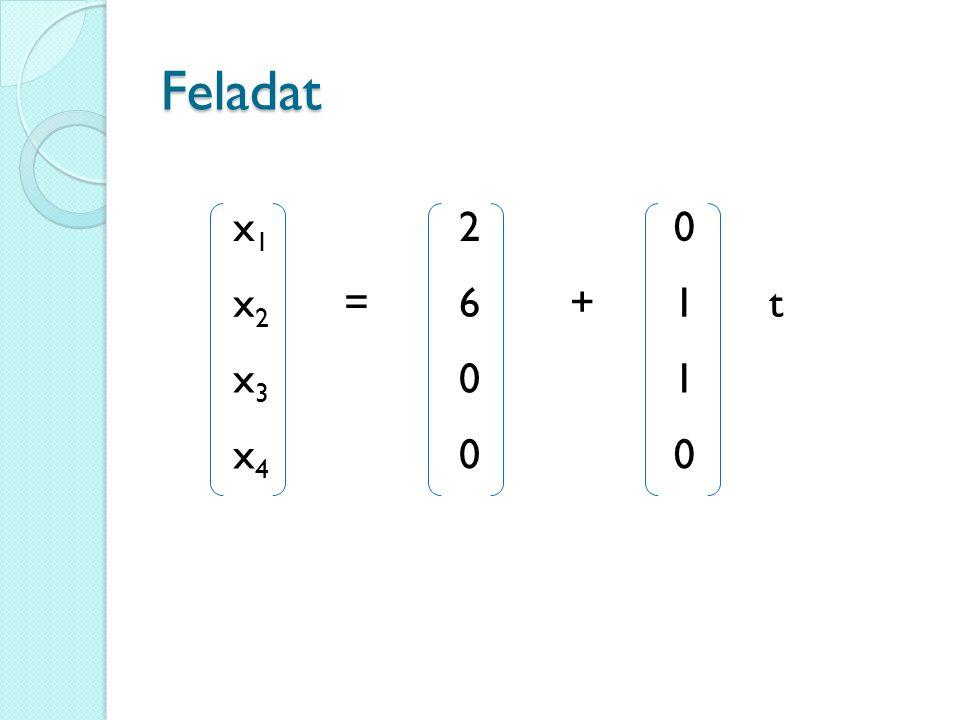 Feladat x1 2 x2 = 6 + 1 t x3 x4