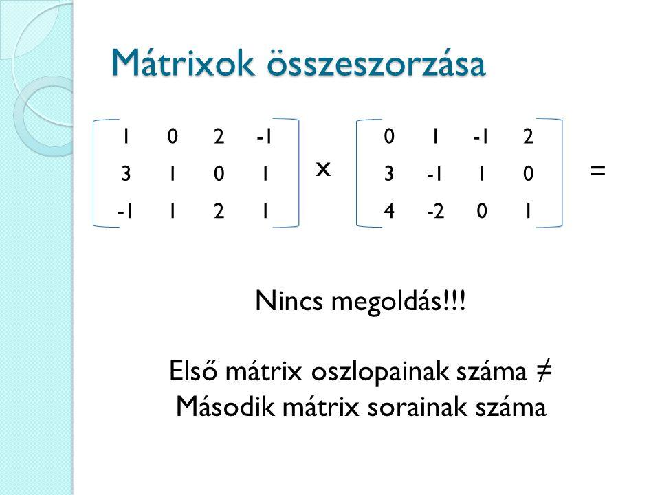 Mátrixok összeszorzása