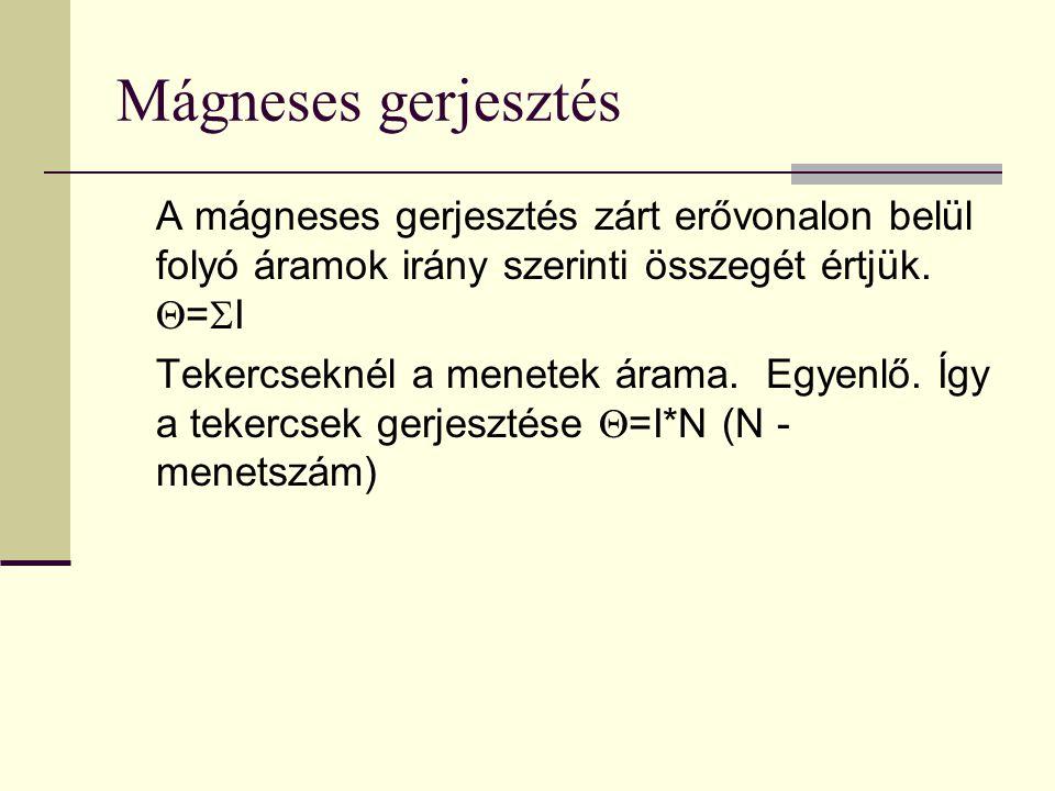 Mágneses gerjesztés A mágneses gerjesztés zárt erővonalon belül folyó áramok irány szerinti összegét értjük. Q=SI.