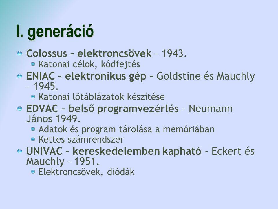 I. generáció Colossus – elektroncsövek – 1943.