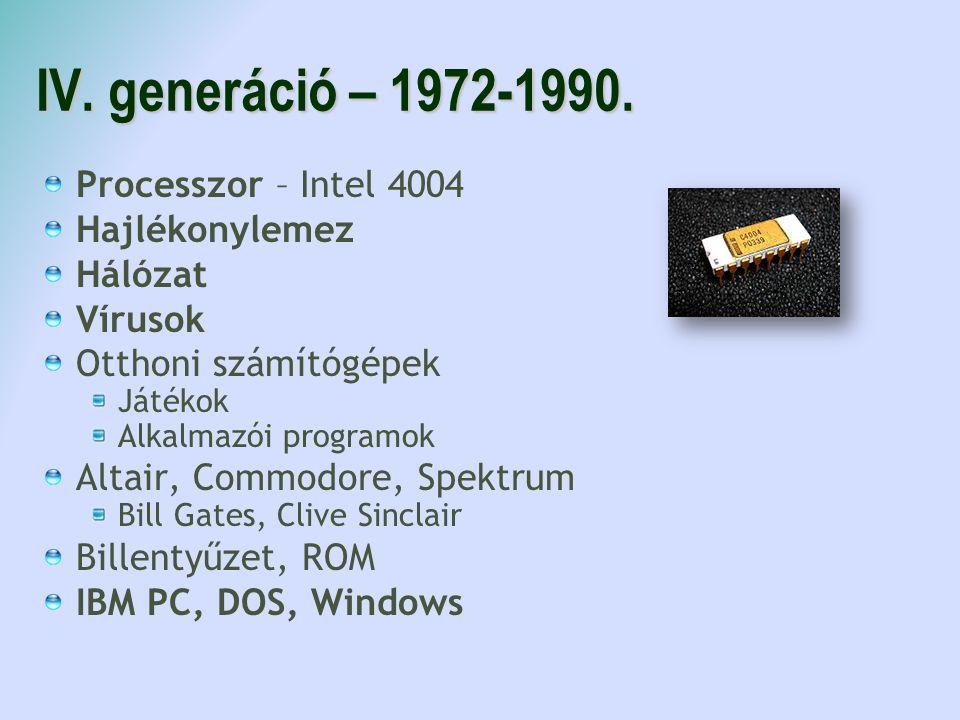 IV. generáció – 1972-1990. Processzor – Intel 4004 Hajlékonylemez