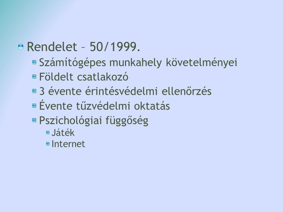 Rendelet – 50/1999. Számítógépes munkahely követelményei