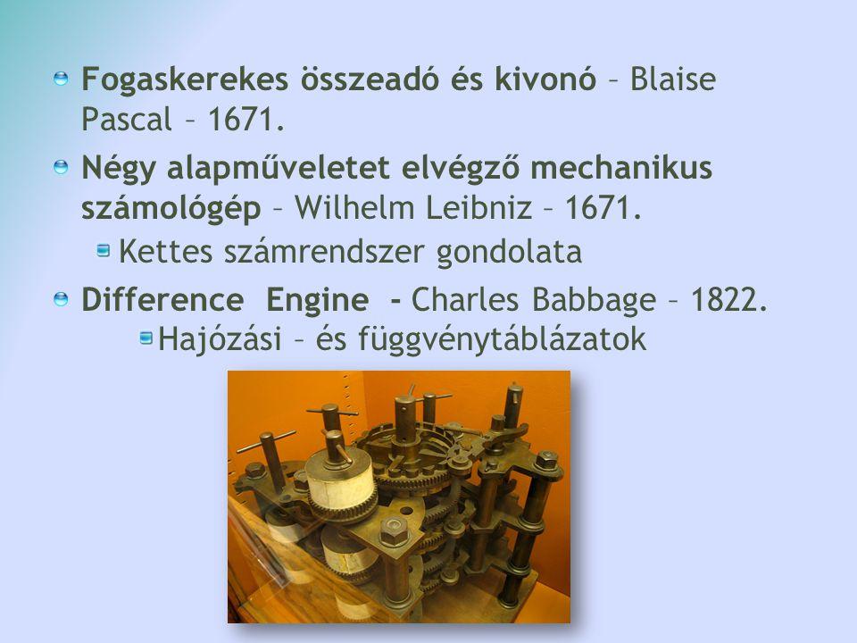 Fogaskerekes összeadó és kivonó – Blaise Pascal – 1671.