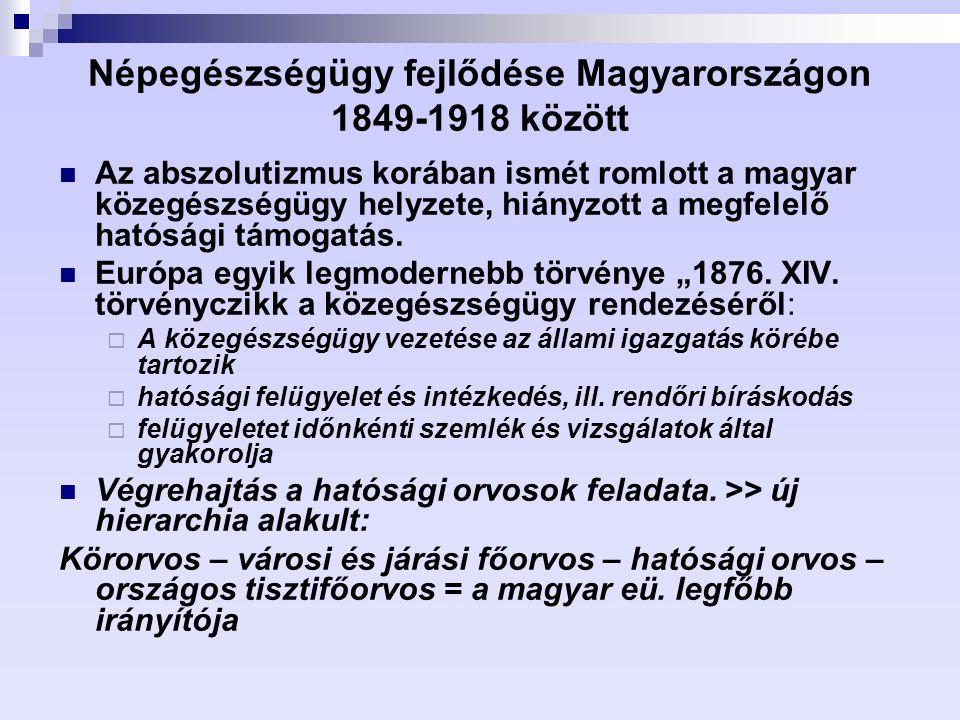 Népegészségügy fejlődése Magyarországon 1849-1918 között