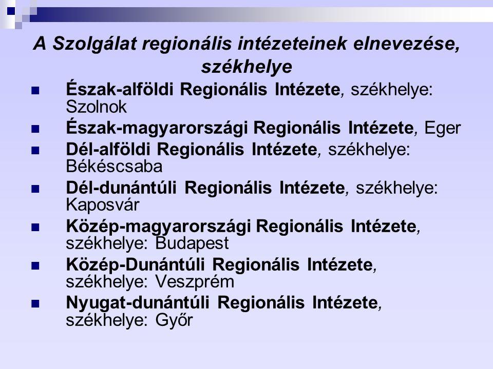 A Szolgálat regionális intézeteinek elnevezése, székhelye