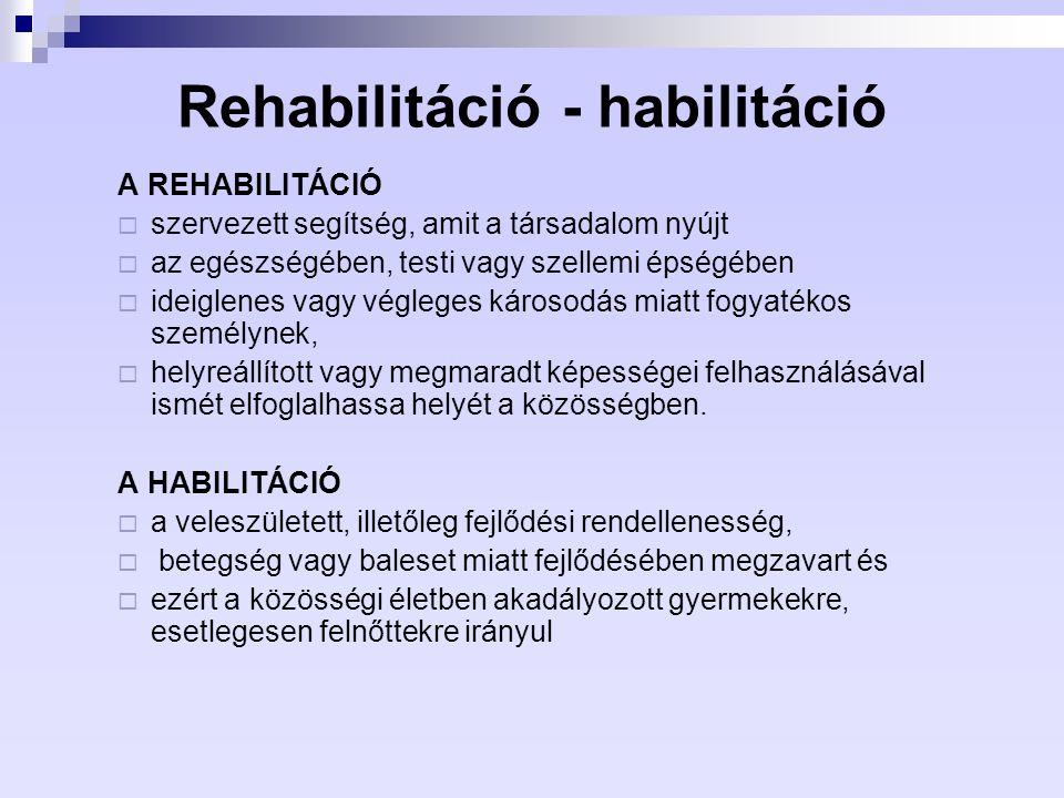 Rehabilitáció - habilitáció
