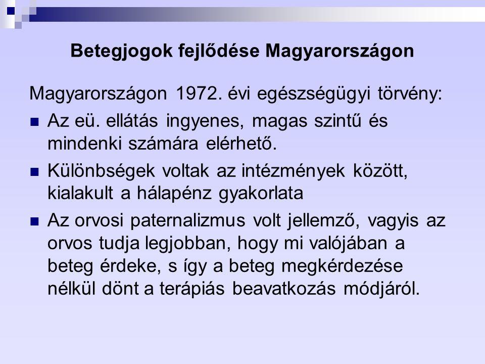 Betegjogok fejlődése Magyarországon