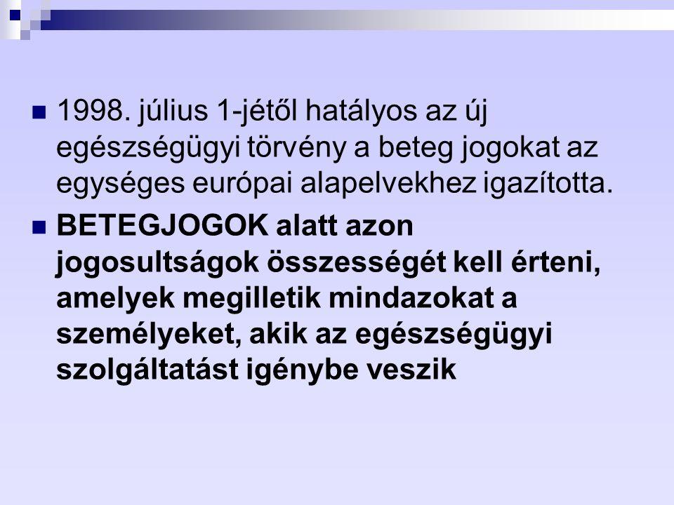 1998. július 1-jétől hatályos az új egészségügyi törvény a beteg jogokat az egységes európai alapelvekhez igazította.