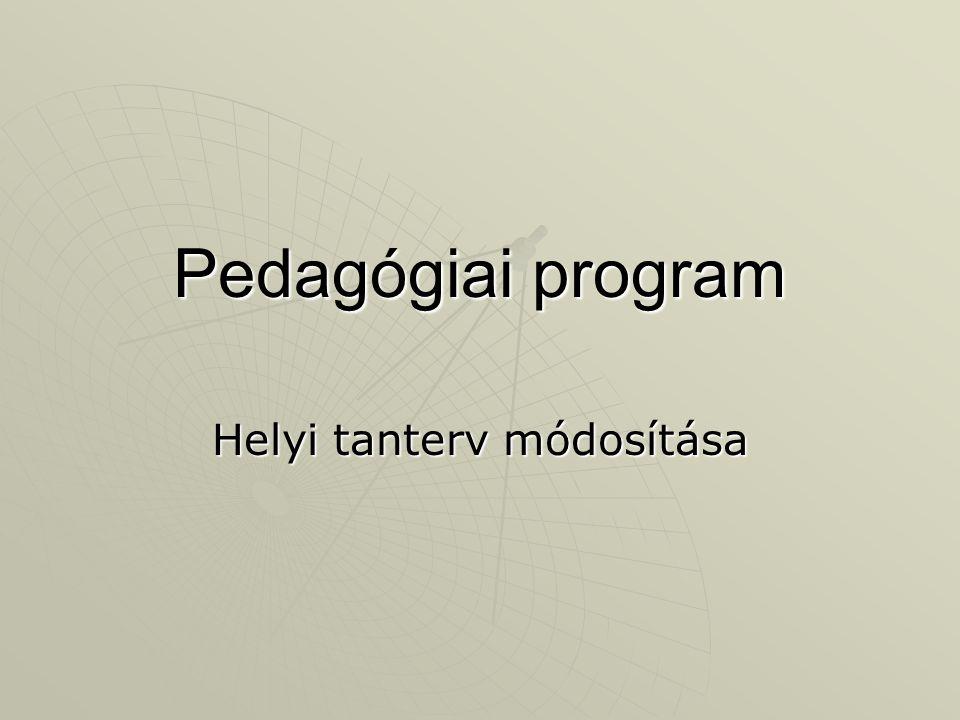 Helyi tanterv módosítása