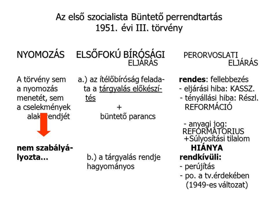Az első szocialista Büntető perrendtartás 1951. évi III. törvény