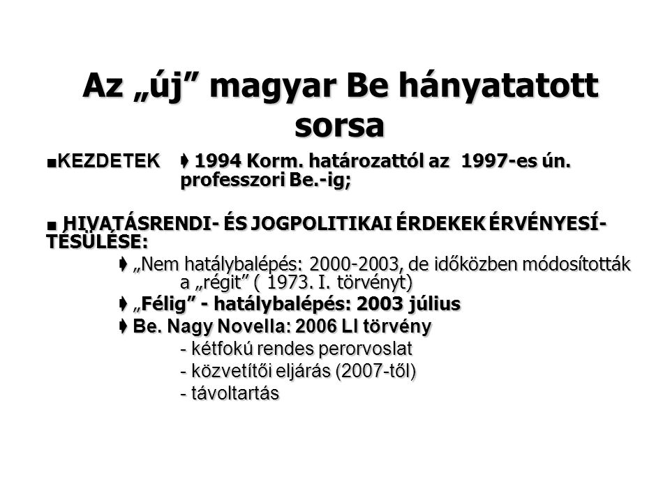 """Az """"új magyar Be hányatatott sorsa"""