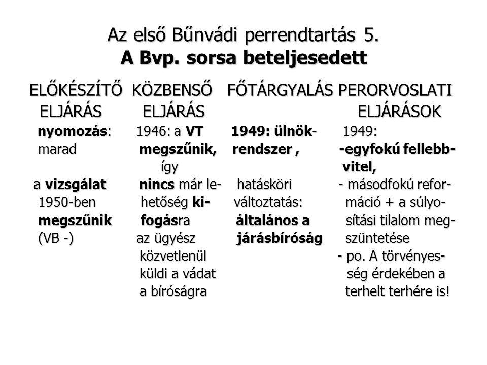 Az első Bűnvádi perrendtartás 5. A Bvp. sorsa beteljesedett