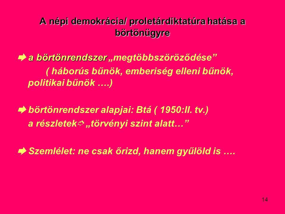 A népi demokrácia/ proletárdiktatúra hatása a börtönügyre