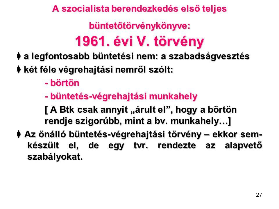 A szocialista berendezkedés első teljes büntetőtörvénykönyve: 1961
