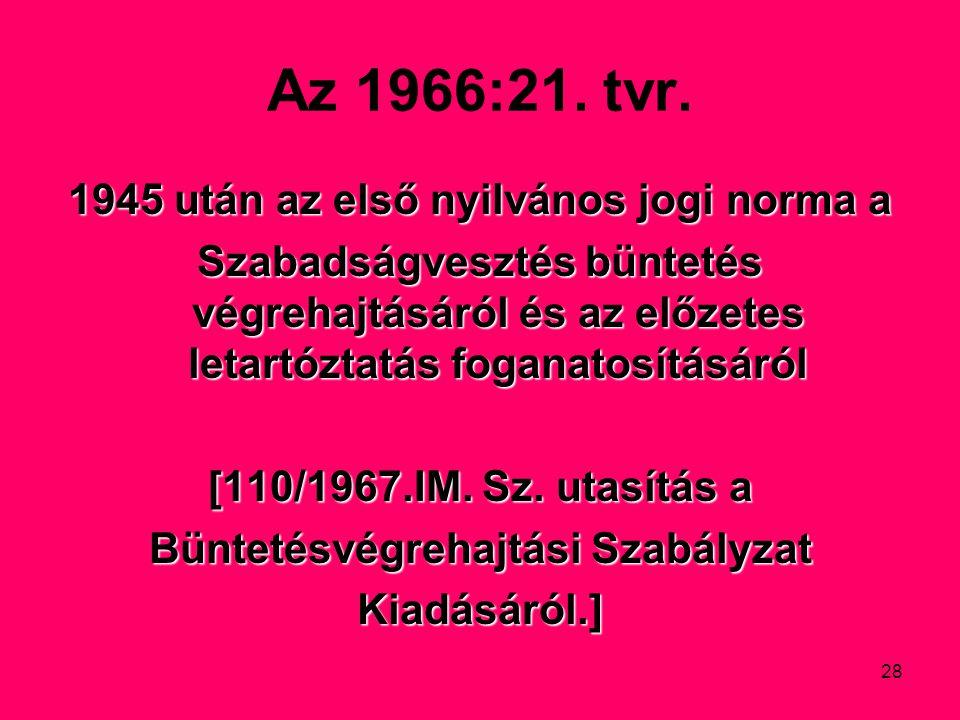 Az 1966:21. tvr. 1945 után az első nyilvános jogi norma a