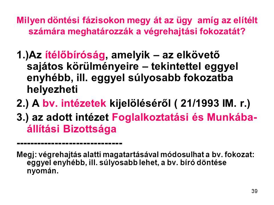 2.) A bv. intézetek kijelöléséről ( 21/1993 IM. r.)