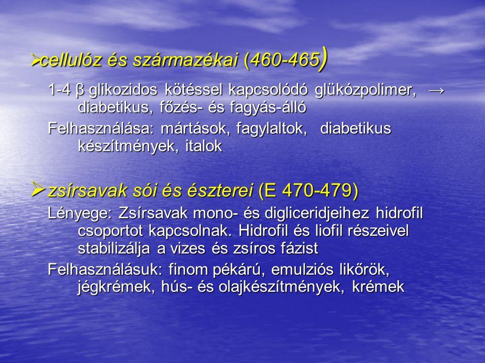 cellulóz és származékai (460-465)