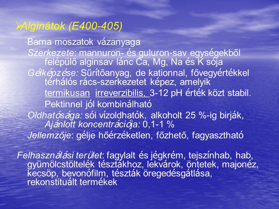 Alginátok (E400-405) Barna moszatok vázanyaga