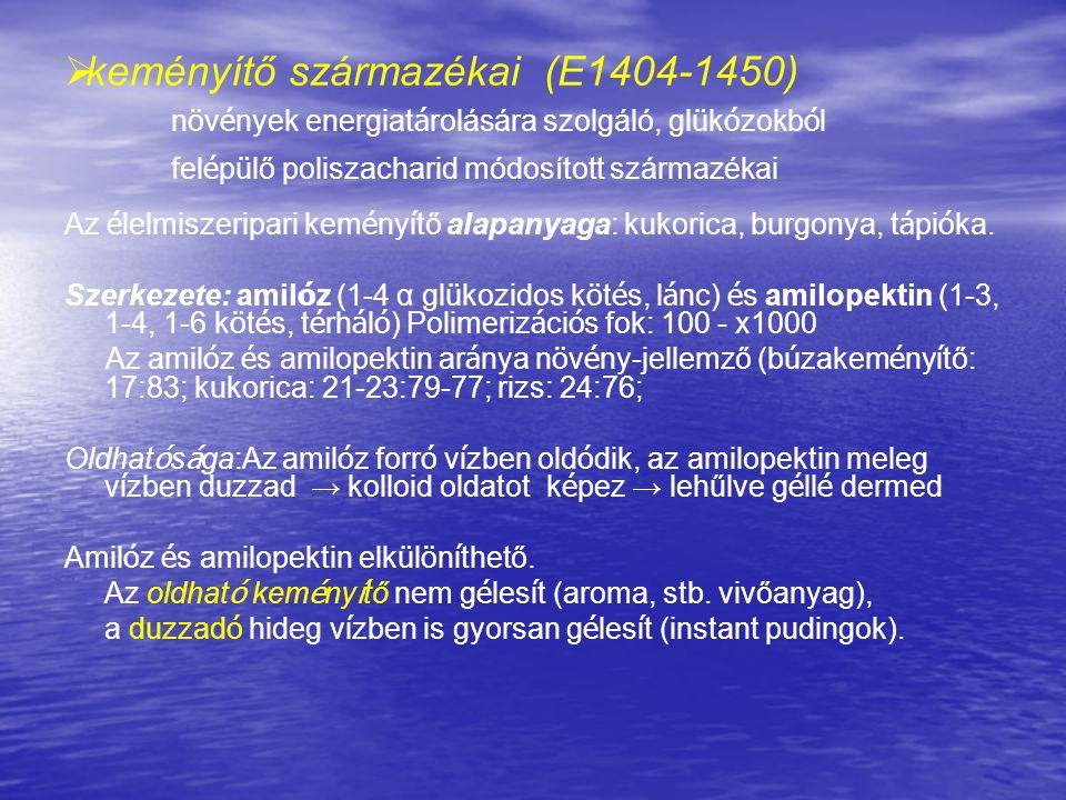 keményítő származékai (E1404-1450)
